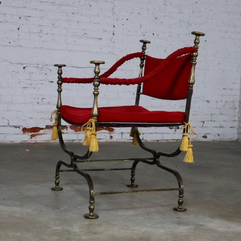 American Wrought Iron and Brass Curule Savonarola Chair, Mid-20th Century For Sale