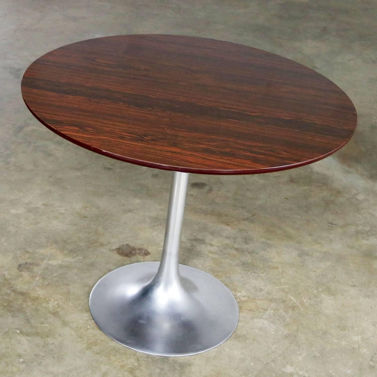Merveilleux Classic Mid Century Modern Saarinen Style Tulip Table With Polished  Aluminum Base And Round Wood
