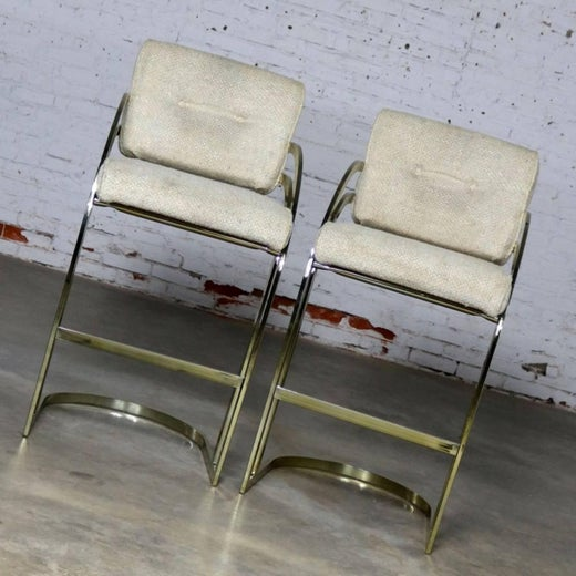 Enjoyable Pair Of Milo Baughman Style Cantilever Brass Plated Bar Gmtry Best Dining Table And Chair Ideas Images Gmtryco