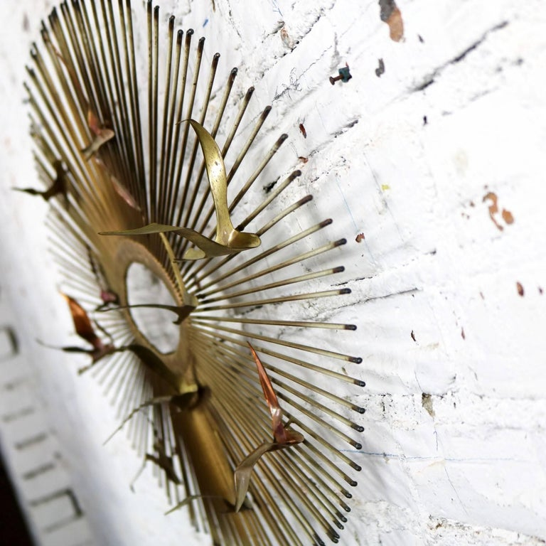 Gilt Mid-Century Modern Oval Sunburst and Bird Wall Sculpture Attributed to C. Jere For Sale