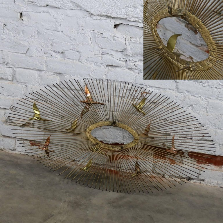 Mid-Century Modern Oval Sunburst and Bird Wall Sculpture Attributed to C. Jere In Good Condition For Sale In Topeka, KS