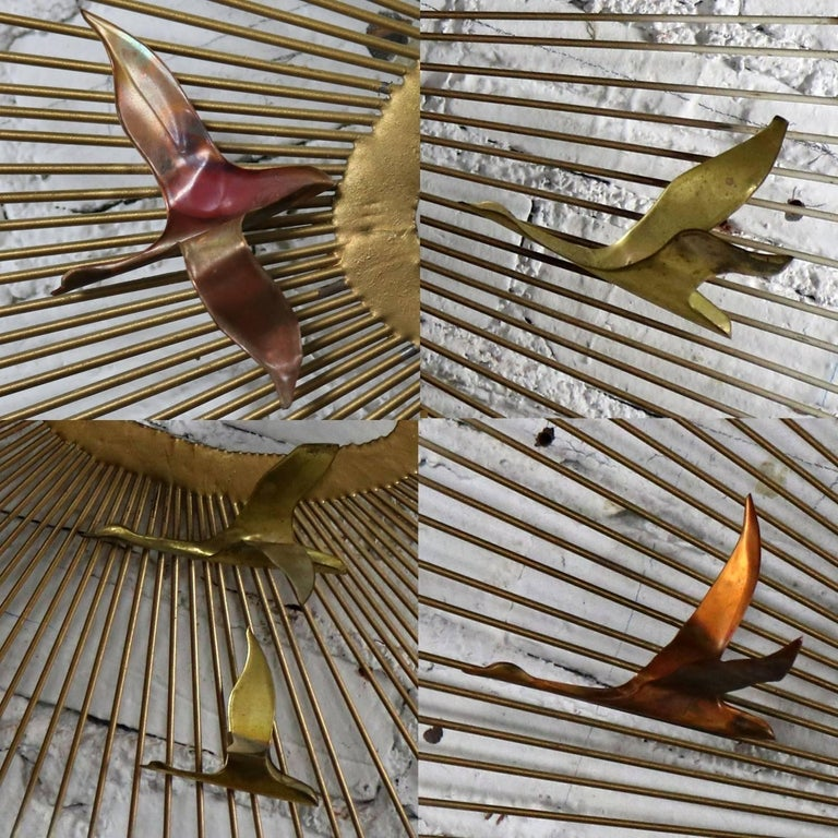 Mid-Century Modern Oval Sunburst and Bird Wall Sculpture Attributed to C. Jere For Sale 1