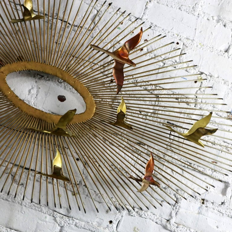20th Century Mid-Century Modern Oval Sunburst and Bird Wall Sculpture Attributed to C. Jere For Sale
