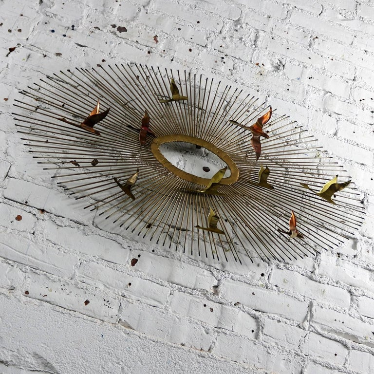 Mid-Century Modern Oval Sunburst and Bird Wall Sculpture Attributed to C. Jere For Sale 2