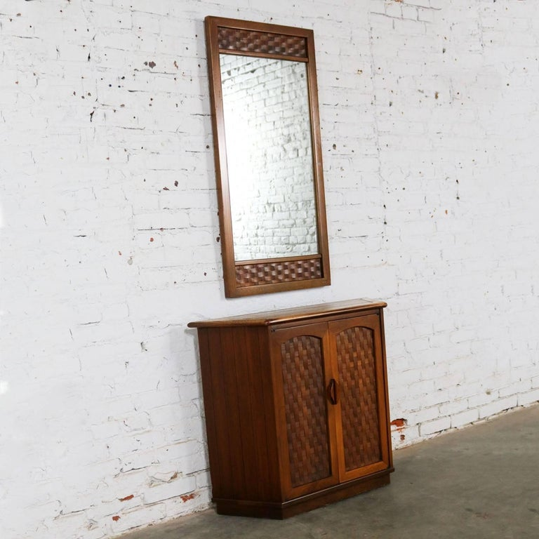 Console cabinet and mirror basket weave style lane for Church style mirrors