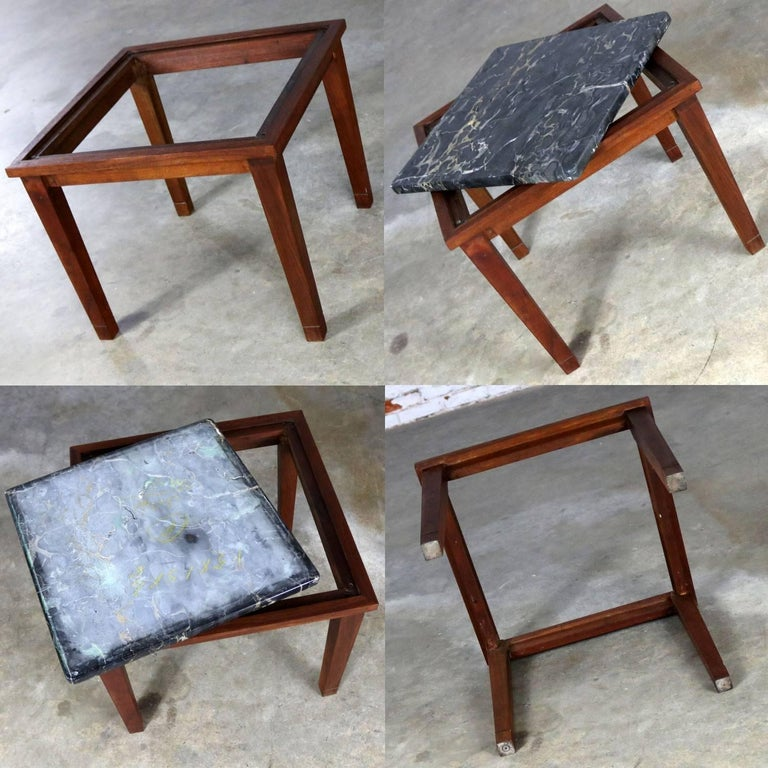 Mid-Century Modern Walnut and Black Marble Square End or Side Table For Sale 5