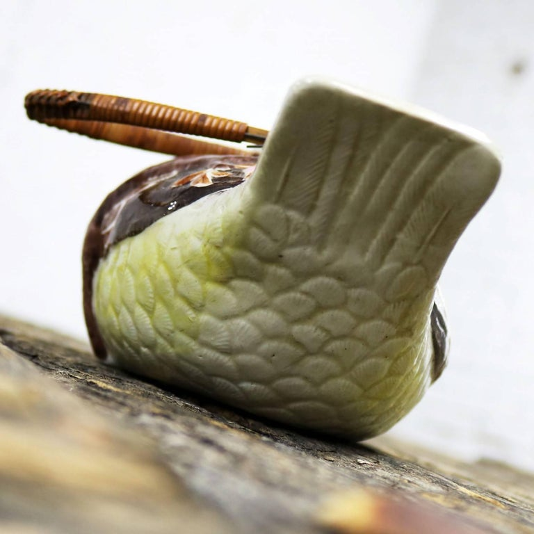 Small Antique Japanese Banko Ware Figural Bird Teapot with Wrapped Rattan Handle For Sale 3