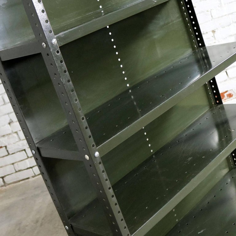 Industrial Steel Bookcase Shelving Unit Original Paint with Great Patina For Sale 4