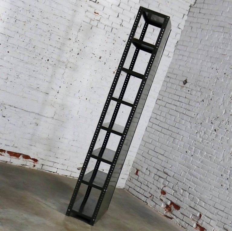 Industrial Steel Bookcase Shelving Unit Original Paint with Great Patina In Distressed Condition For Sale In Topeka, KS