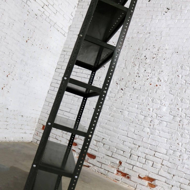 20th Century Industrial Steel Bookcase Shelving Unit Original Paint with Great Patina For Sale