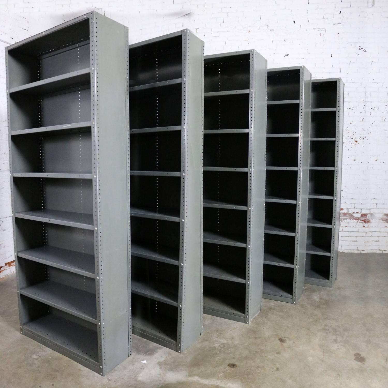 Industrial Steel Bookcase Shelving Painted Great Patina Vintage At 1stdibs