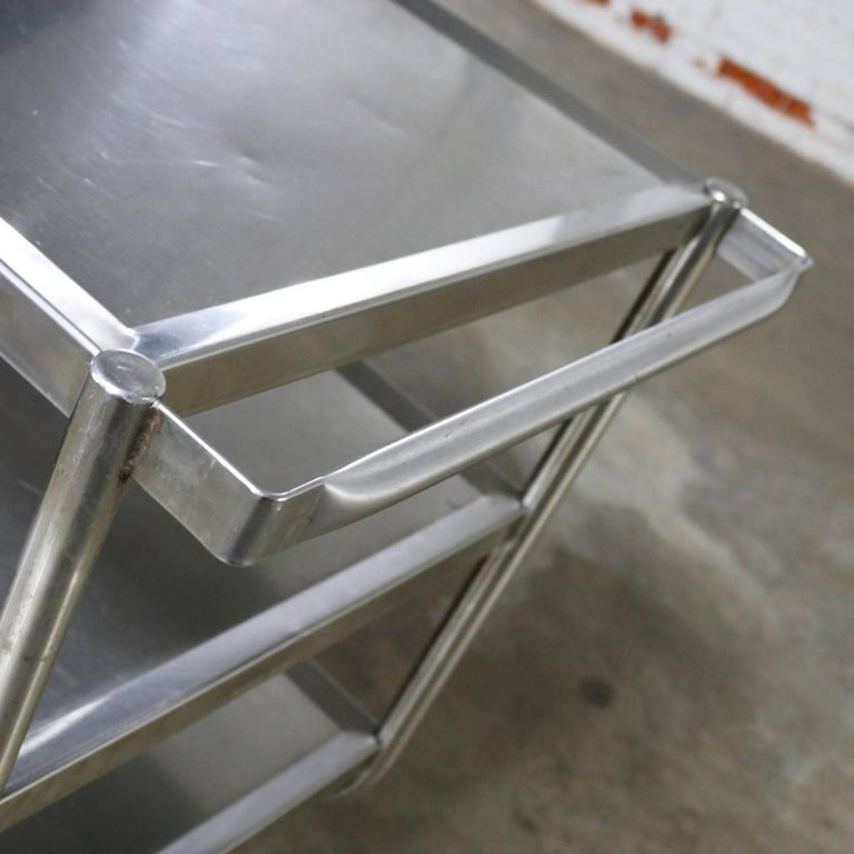 Industrial Three-Tier Stainless Steel Rolling Cart Vintage For Sale 2