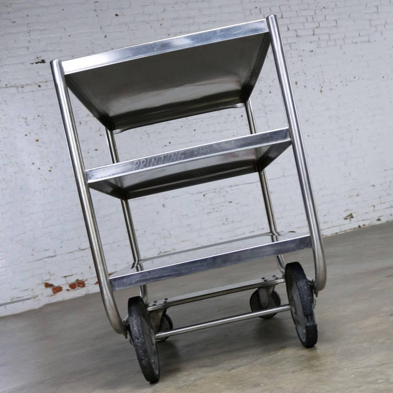 20th Century Industrial Three-Tier Stainless Steel Rolling Cart Vintage For Sale