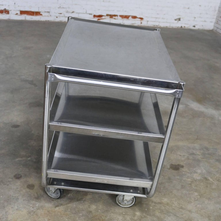 Industrial Three-Tier Stainless Steel Rolling Cart Vintage For Sale 1