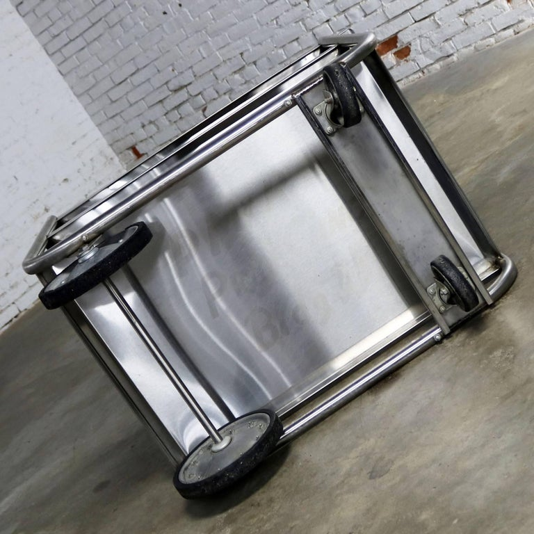 Industrial Three-Tier Stainless Steel Rolling Cart Vintage For Sale 5