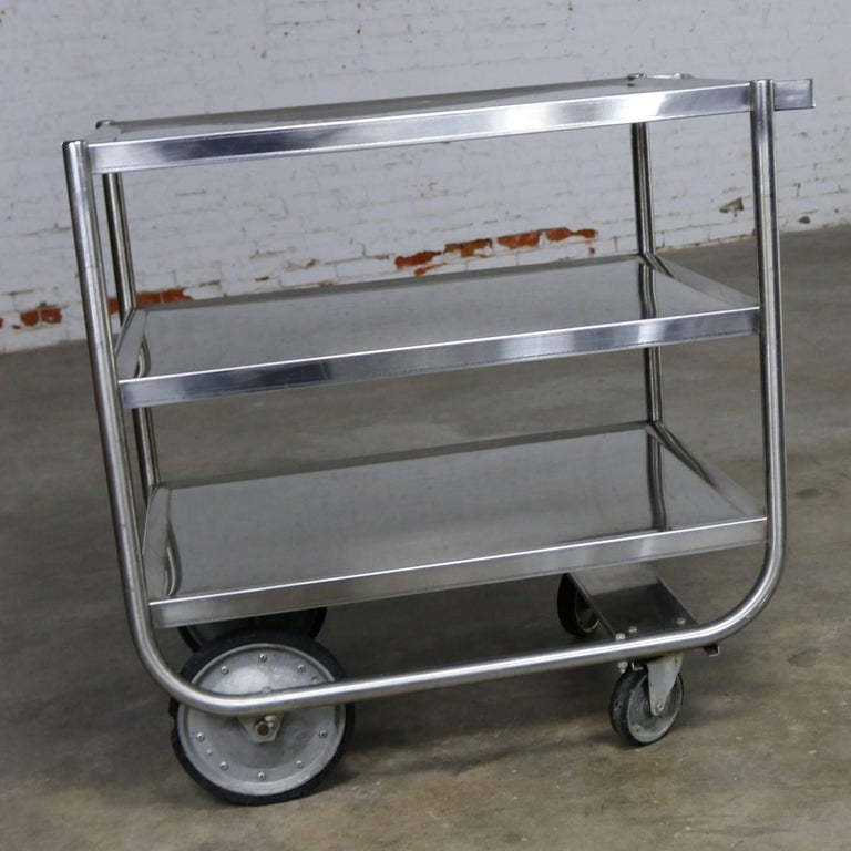 Industrial Three-Tier Stainless Steel Rolling Cart Vintage In Good Condition For Sale In Topeka, KS