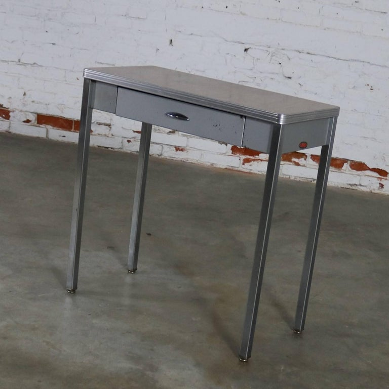 American Art Deco Machine Age Streamline Moderne Table Desk by Royal Metal Manufacturing For Sale