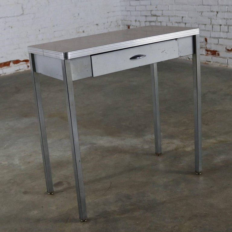 Brushed Art Deco Machine Age Streamline Moderne Table Desk by Royal Metal Manufacturing For Sale