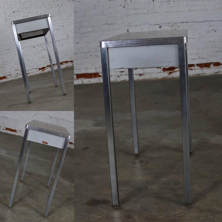 Steel Art Deco Machine Age Streamline Moderne Table Desk by Royal Metal Manufacturing For Sale