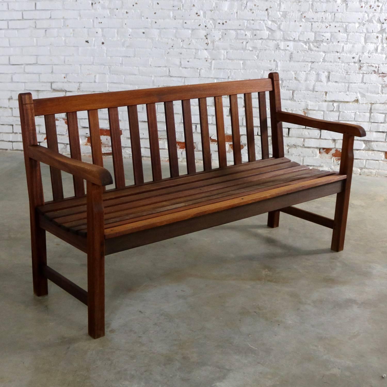 Vintage Windsor Natural Teak Outdoor Three-Seat Bench For Sale at ...
