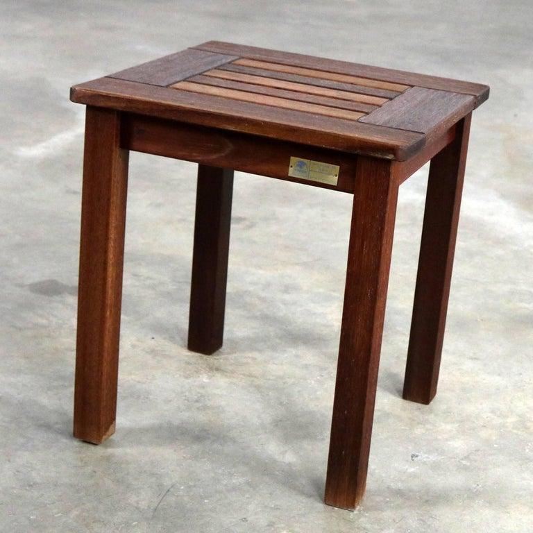 Vintage windsor natural teak outdoor side table for sale for Teak side table outdoor