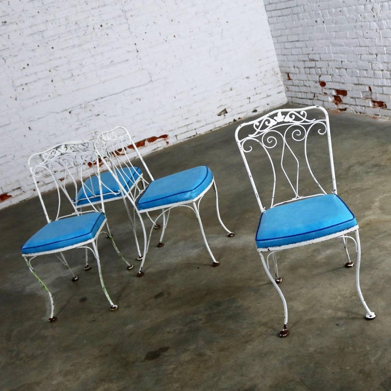 Glass Salterini Style Wrought Iron Patio Set Round Table Four Chairs Turquoise Seats For Sale