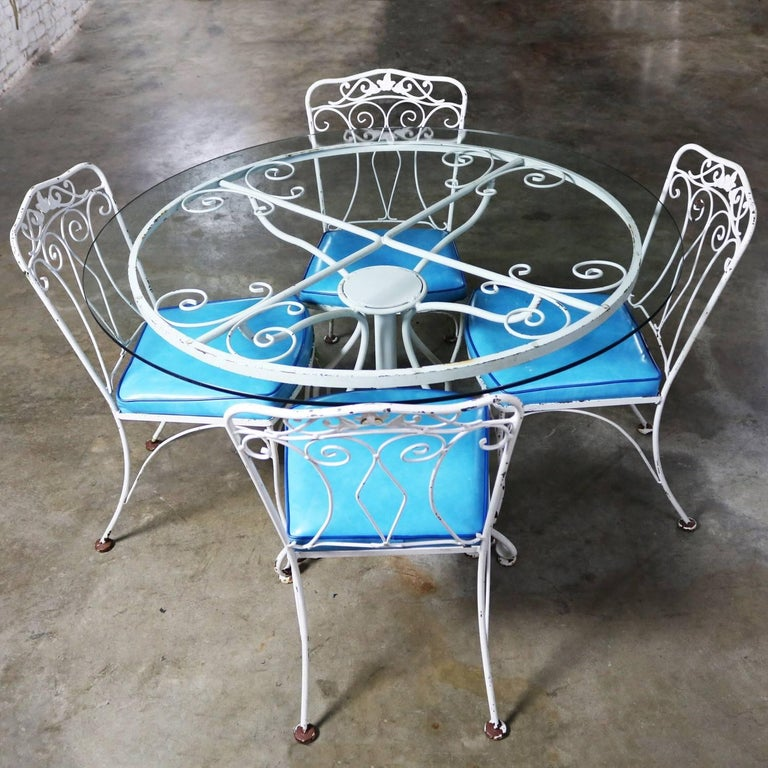 Lovely Salterini Style Wrought Iron Patio Set Consisting Of A Round Dining Table With Pedestal Base