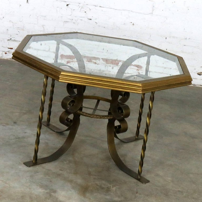 American Hollywood Regency Wrought Iron Dining Table Octagon Gilded Wood Rimmed Glass Top For Sale