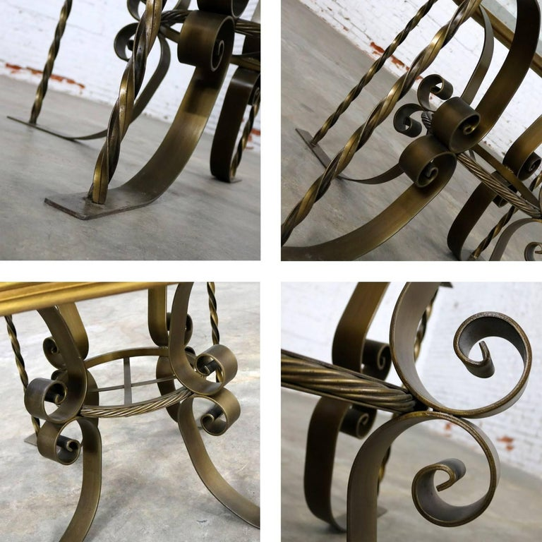 Hollywood Regency Wrought Iron Dining Table Octagon Gilded Wood Rimmed Gl Top For 5