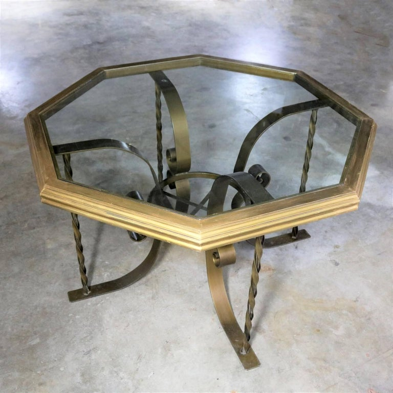 Hollywood Regency Wrought Iron Dining Table Octagon Gilded Wood Rimmed Glass Top In Good Condition For Sale In Topeka, KS