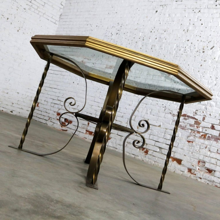 Late 20th Century Hollywood Regency Wrought Iron Dining Table Octagon Gilded Wood Rimmed Glass Top For Sale