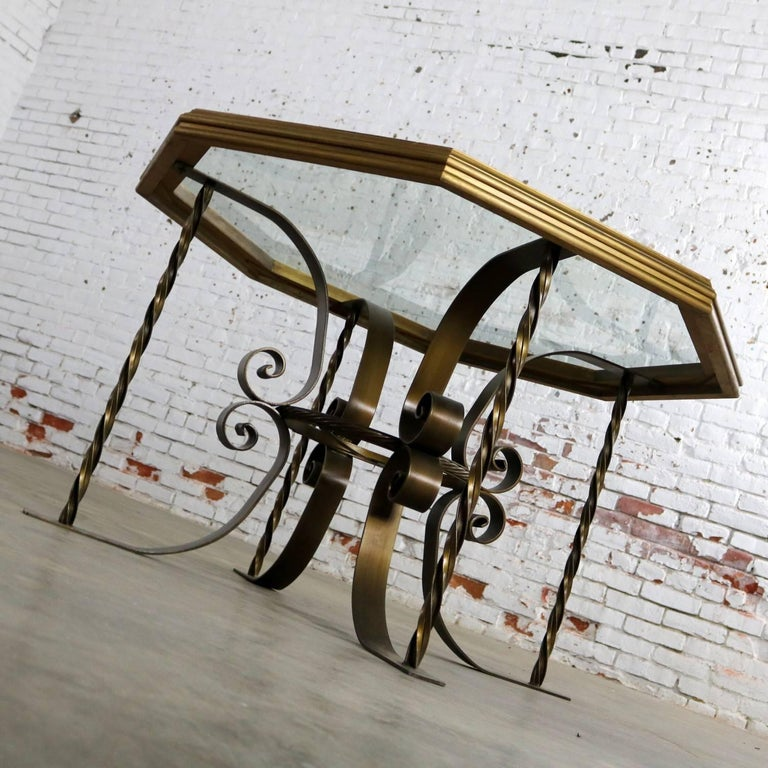 Hollywood Regency Wrought Iron Dining Table Octagon Gilded Wood Rimmed Glass Top For Sale 1