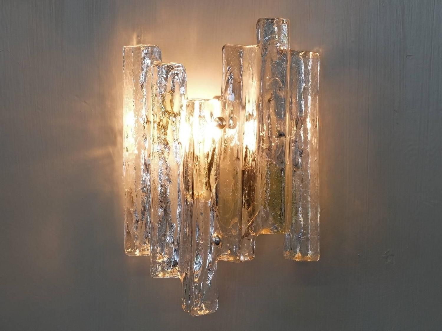 Wall Sconces, Kalmar, Clear and Gold Murano Ice Glass, 1960s at 1stdibs