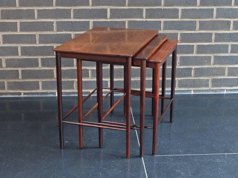 Scandinavian Modern Danish 1960s Rosewood Nest of Tables by Kai Winding for Poul Jepessen For Sale
