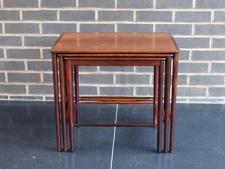 Palisander Danish 1960s Rosewood Nest of Tables by Kai Winding for Poul Jepessen For Sale
