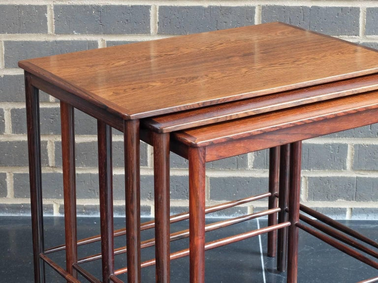 Danish 1960s Rosewood Nest of Tables by Kai Winding for Poul Jepessen In Good Condition For Sale In London, GB