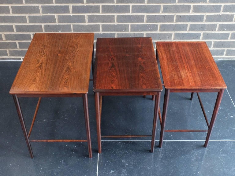 Danish 1960s Rosewood Nest of Tables by Kai Winding for Poul Jepessen For Sale 3