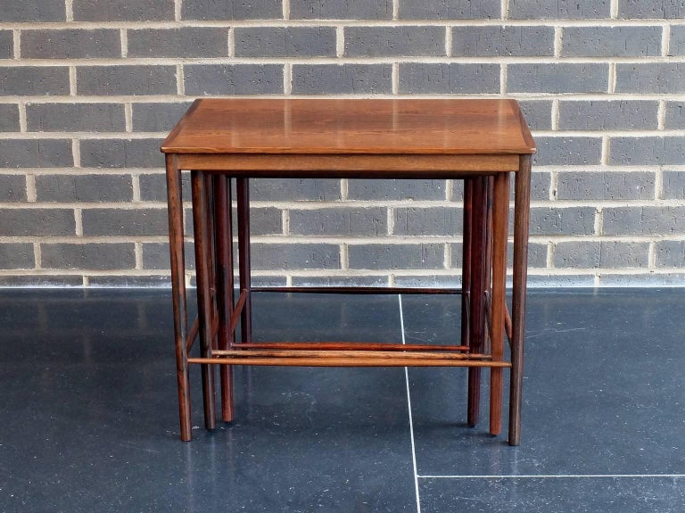 Danish 1960s Rosewood Nest of Tables by Kai Winding for Poul Jepessen For Sale 1
