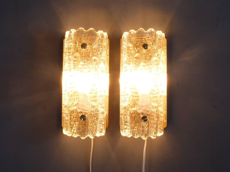 1960s mid century carl fagerlund orrefors glass wall sconces for carl fagerlund orrefors glass sconces produced by lyfa in the 1960s these wall lights feature aloadofball Images