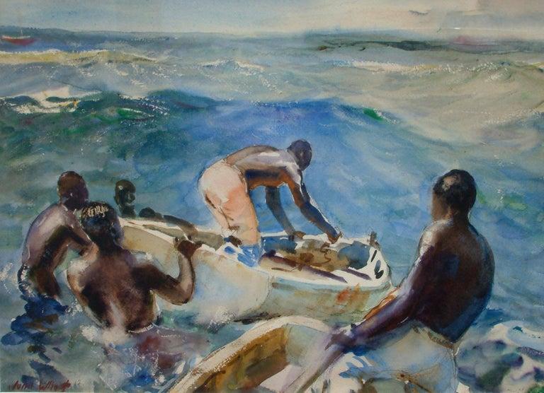 John Whorf (1903-1959) watercolor, boats in Barbados. Measures: 16 1/4