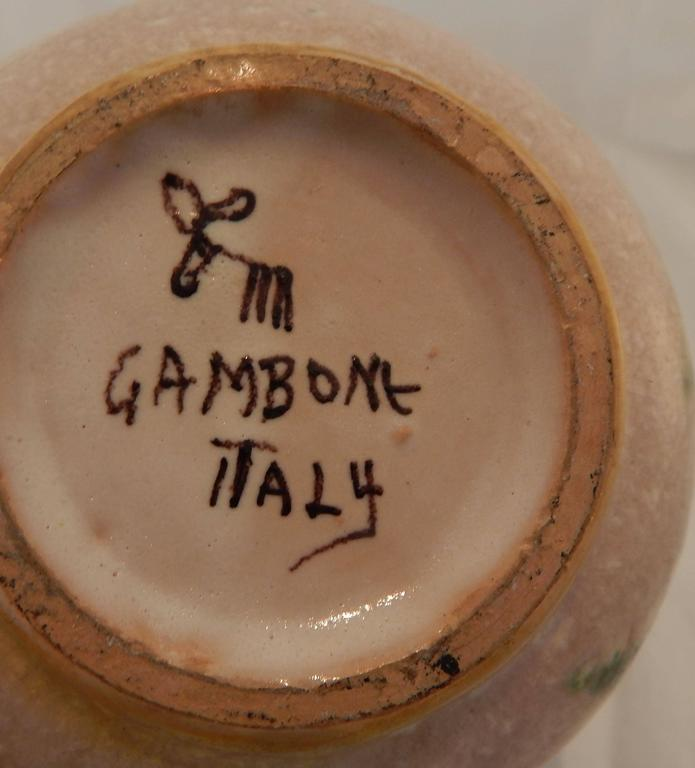 Guido Gambone Decorated Glazed Earthenware Bottle For Sale