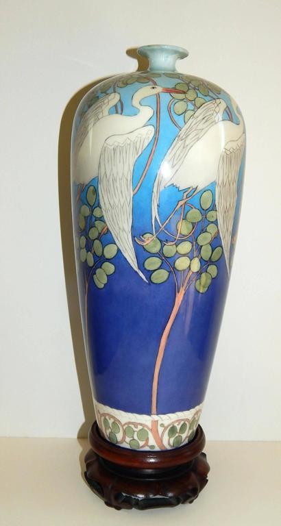 American Belleek Willets Art Nouveau Hand Painted Porcelain Vase, 1908 For Sale