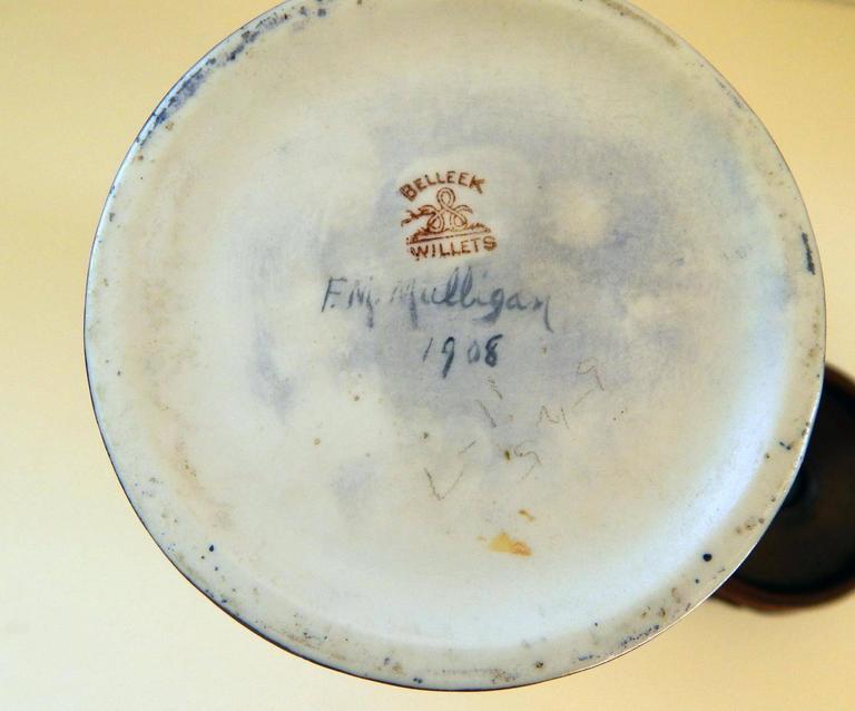 Belleek Willets Art Nouveau Hand Painted Porcelain Vase, 1908 In Excellent Condition For Sale In Phoenix, AZ