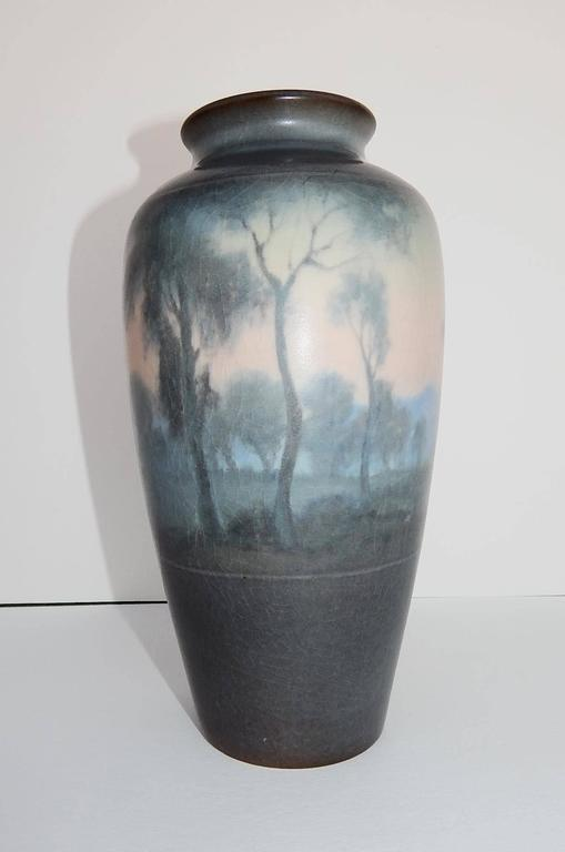 Beautiful scenic rookwood Vellum ceramic vase. Rookwood mark, dated 1919, incised artist monogram and V for Vellum. Artist: Fred Rothenbusch for Rookwood Pottery Company - Cincinnati, Ohio. Mint condition; no chips, cracks or repairs. Has