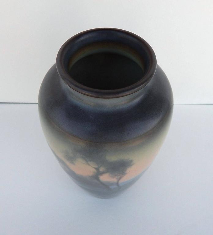Arts and Crafts Rookwood Pottery Scenic Vellum Vase, 1919, Fred Rothenbusch For Sale