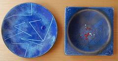 Two Edward Winter Modern Abstract Design Copper Enamel Trays