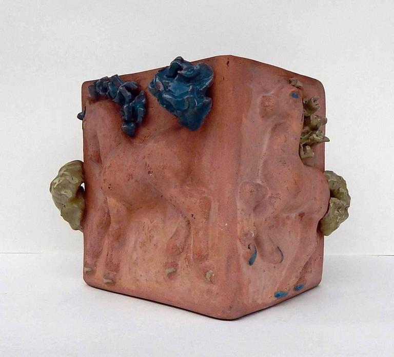 Mid-Century Modern Mathilde Schaefer Modern Studio Pot with Horse Motif For Sale
