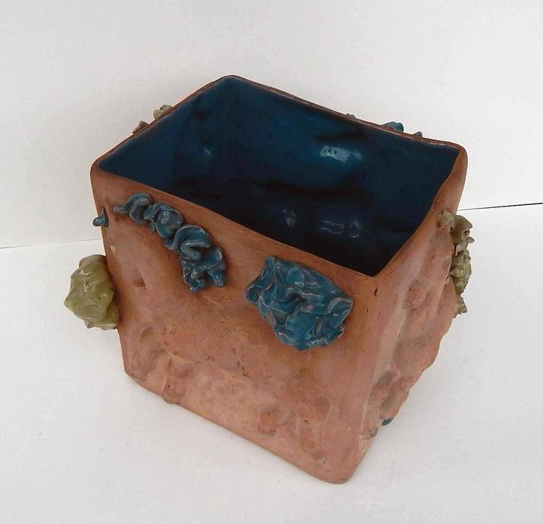 American Mathilde Schaefer Modern Studio Pot with Horse Motif For Sale