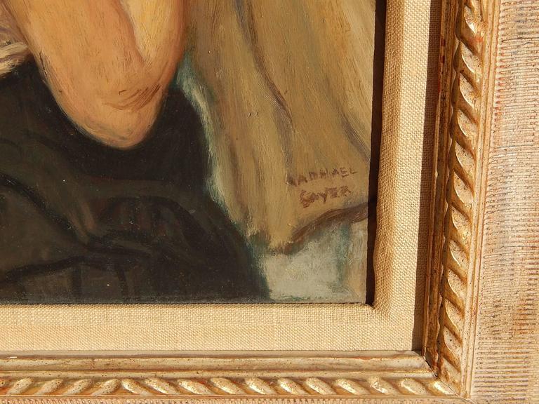 Modern Raphael Soyer Original Oil on Panel, Dancer Waiting Backstage