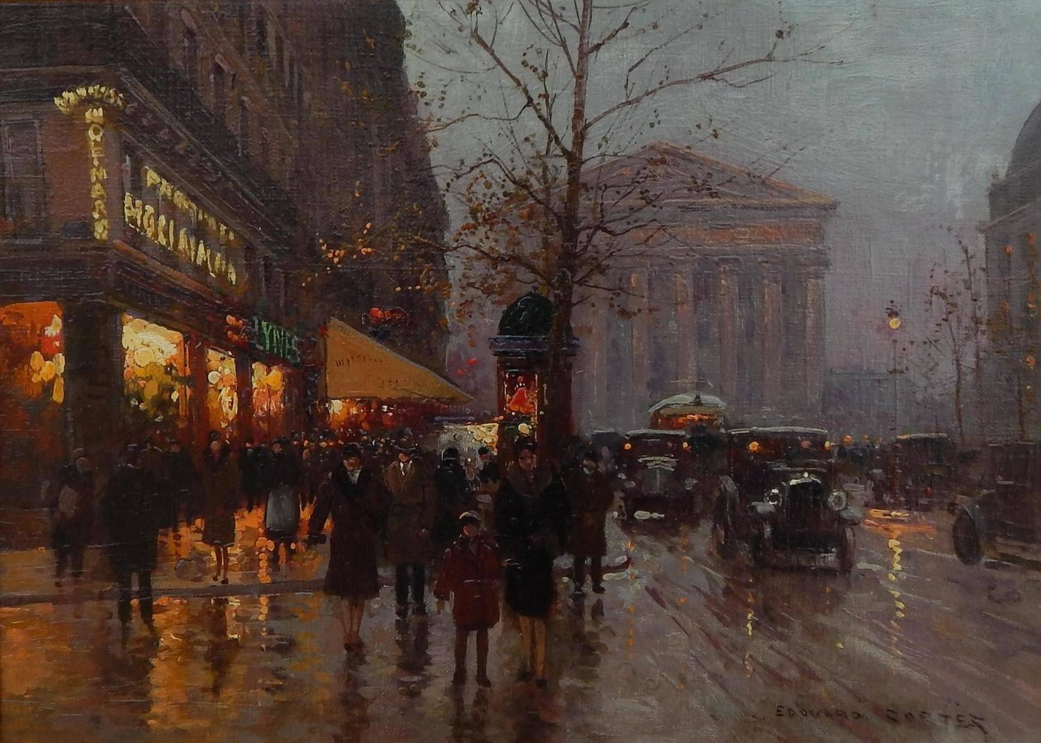 Edouard Leon Cortes Oil on Canvas, Rue Royale, Paris For Sale at 1stdibs
